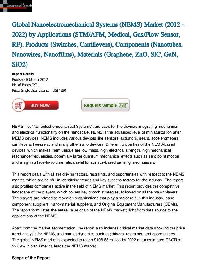 Global Nanoelectromechanical Systems (NEMS) Market (2012 -2022) by Applications (STM/AFM, Medical, Gas/Flow Sensor,RF), Pr...