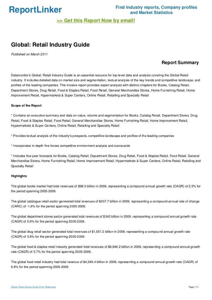 Global Retail Global Retail Industry Guide