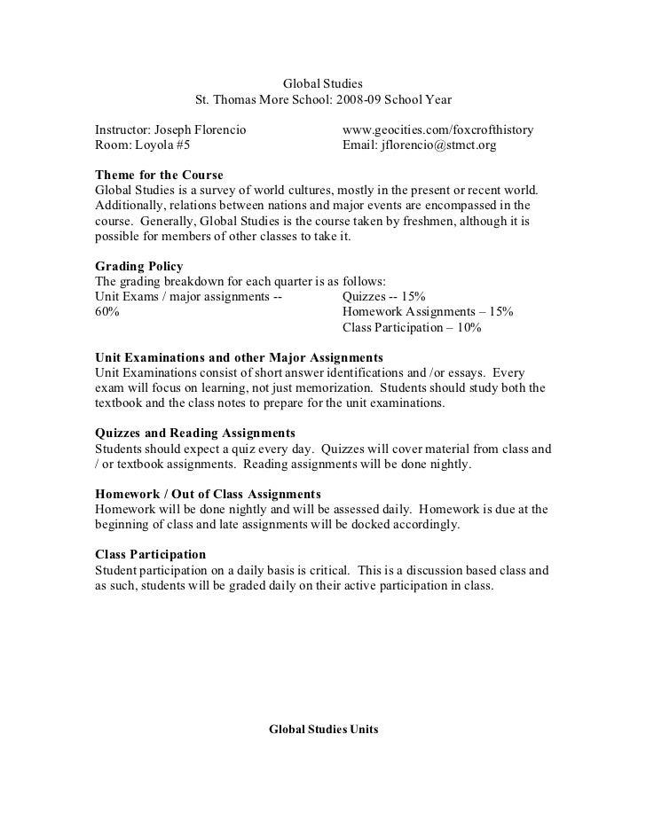 Global Studies                    St. Thomas More School: 2008-09 School Year  Instructor: Joseph Florencio               ...