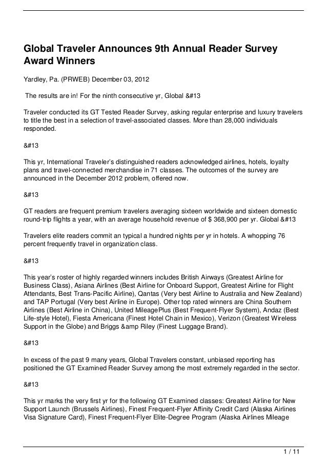 Global Traveler Announces 9th Annual Reader SurveyAward WinnersYardley, Pa. (PRWEB) December 03, 2012The results are in! F...