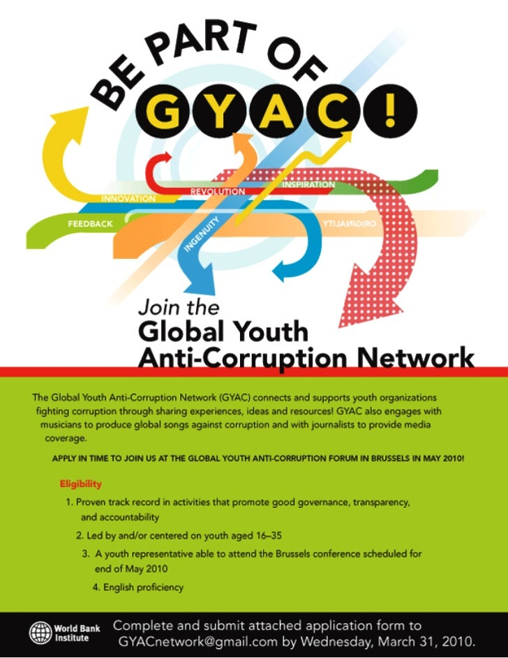 Global Youth Anti-Corruption Forum poster