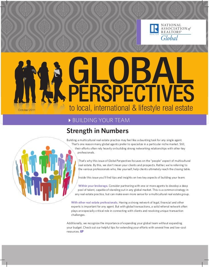 October 2011    to local, international & lifestyle real estate               4BUILDING YOUR TEAM               Strength i...