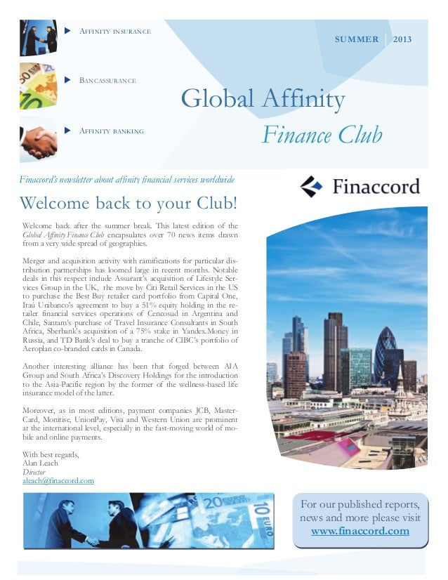 AFFINITY INSURANCE BANCASSURANCE AFFINITY BANKING Global Affinity Finance Club Finaccord's newsletter about affinity...