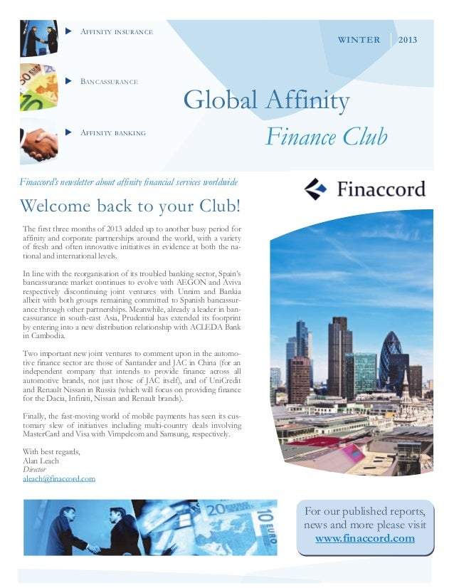 AFFINITY INSURANCEBANCASSURANCEAFFINITY BANKINGGlobal AffinityFinance ClubFinaccord's newsletter about affinity fina...