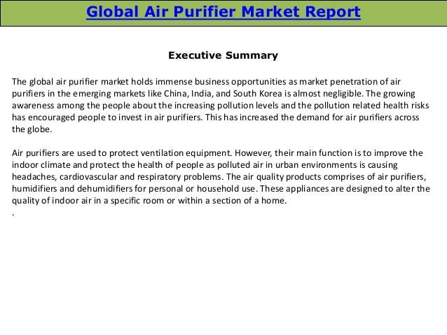 Global Air Purifier Market Trends And Opportunities 2014
