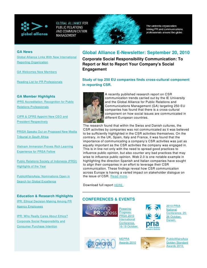 Global Alliance E-Newsletter September 2010