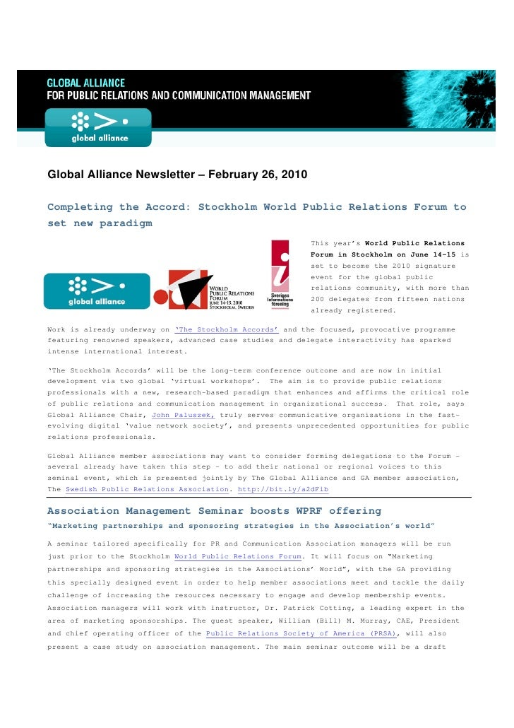 Global Alliance Newsletter – February 26, 2010  Completing the Accord: Stockholm World Public Relations Forum t...