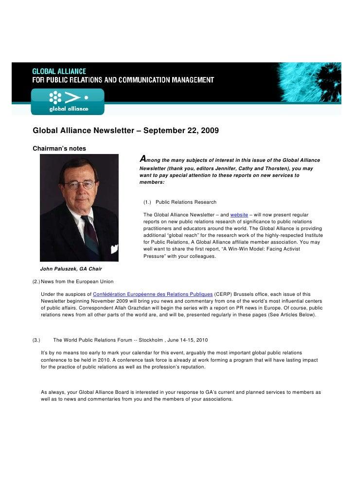 Global Alliance Newsletter Number 9 September 22, 2009