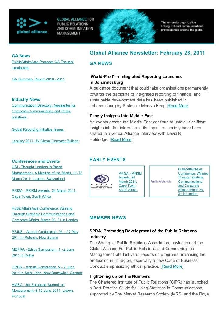 GA News                                            Global Alliance Newsletter: February 28, 2011PublicAffairsAsia Presents...