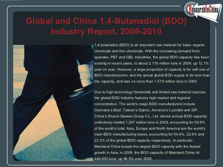 Global and china 1,4 butanediol (bdo) industry report, 2009-2010