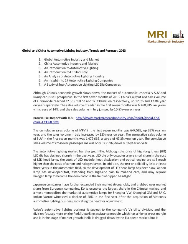 Global and China Automotive Lighting Industry, Trends and Forecast, 2013 1. 2. 3. 4. 5. 6. 7.  Global Automotive Industry ...