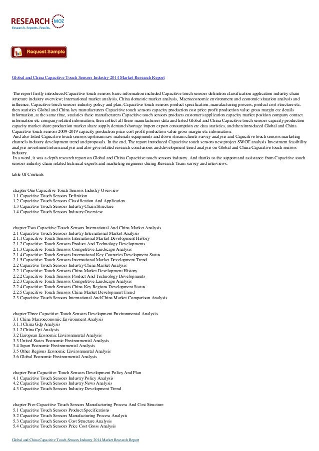 New Report - Global and China Capacitive Touch Sensors Industry 2014