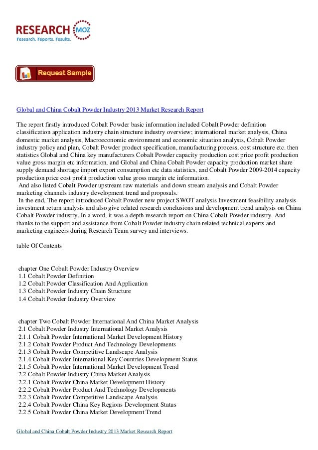 Global and China Cobalt Powder Industry 2013: Latest Research Report