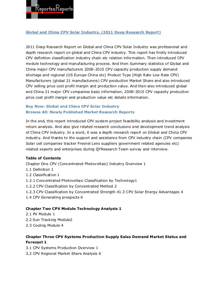 Global and China CPV Solar Industry, (2011 Deep Research Report) By ReportsnReports