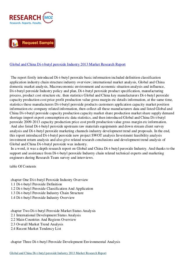Global and China Di-t-butyl peroxide Industry 2013
