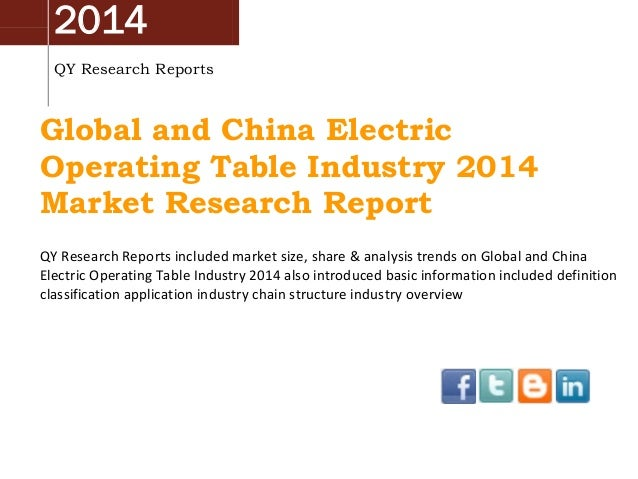 China & Global Electric Operating Table Market 2014 Industry Analysis, Overview, Research and Development
