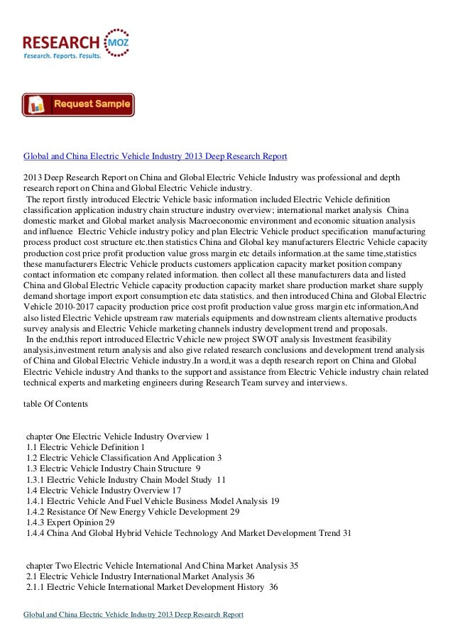 Global and China Electric Vehicle Industry 2013 Deep Research Report 2013 Deep Research Report on China and Global Electri...