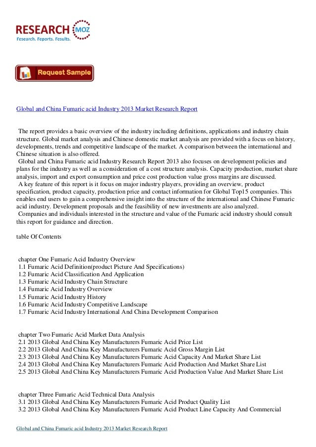 Global and China Fumaric acid Industry 2013:Industry Trends, Size and Shares Research Report