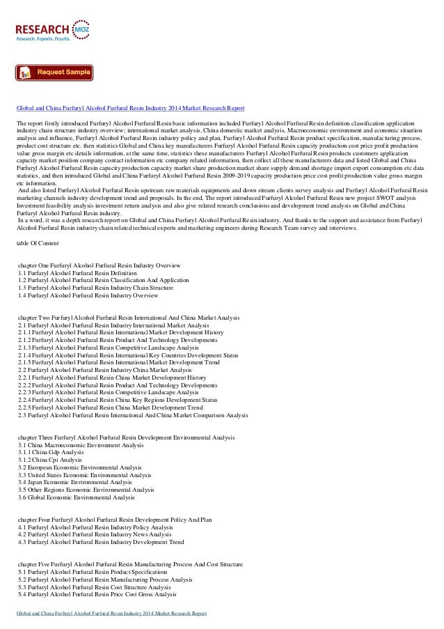 Global and china furfuryl alcohol furfural resin industry 2014 market research report