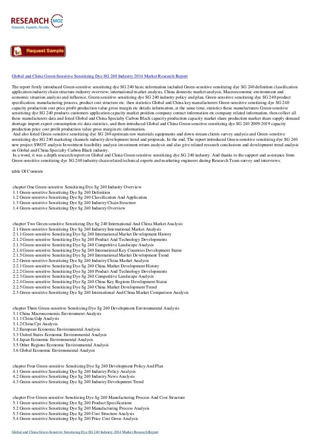 Latest Report: China Green-Sensitive Sensitizing Dye SG 240 Industry 2014