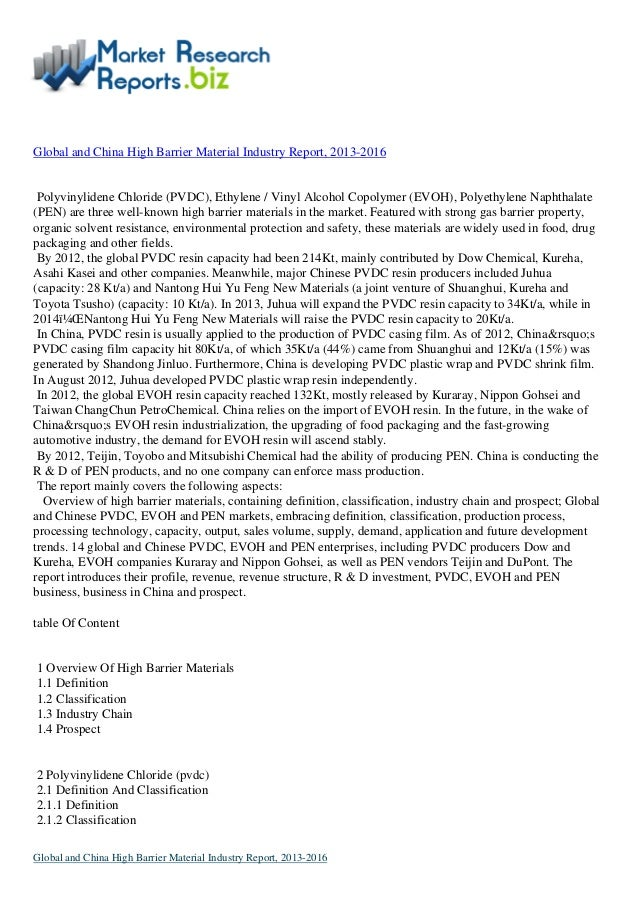 Market Report:-:-Global and china high barrier material industry report, 2013 2016 By MarketResearchReports.biz