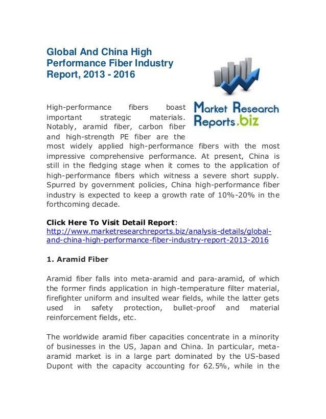 Global Survey:China High Performance Fiber Industry Report, 2013 - 2016