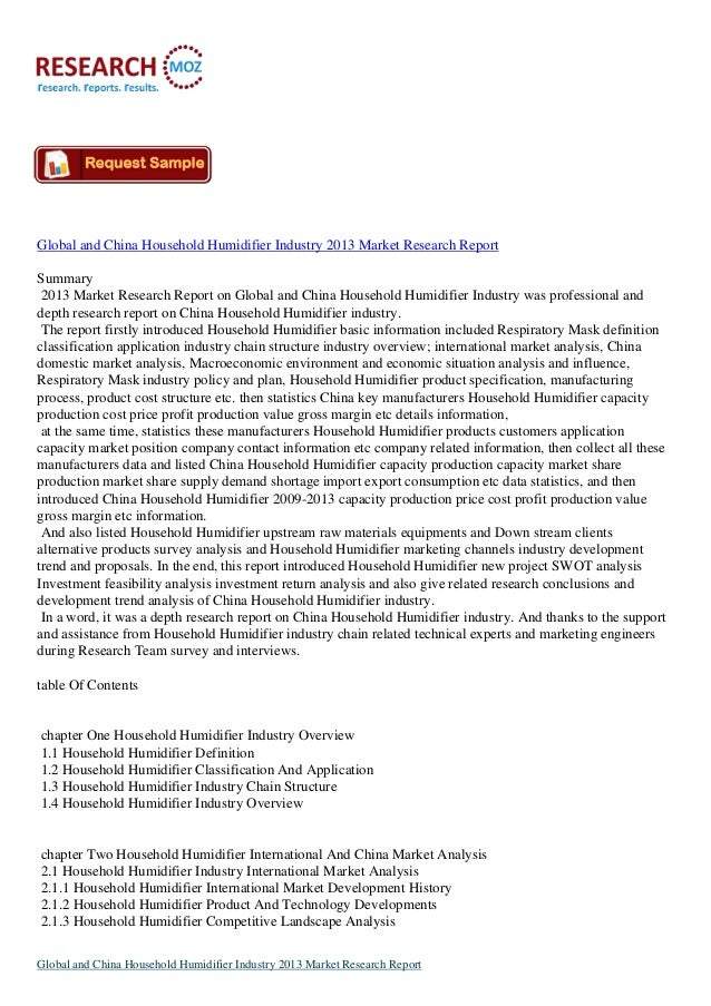 Global and China Household Humidifier Industry 2013 Available on Researchmoz.us