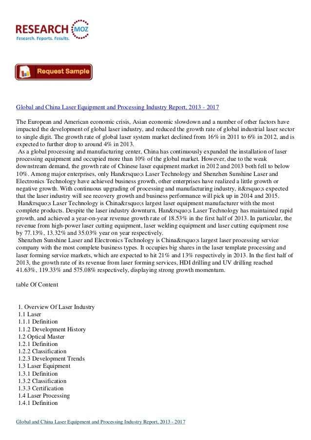 Global and China Laser Equipment and Processing Industry Report, 2013 - 2017 The European and American economic crisis, As...