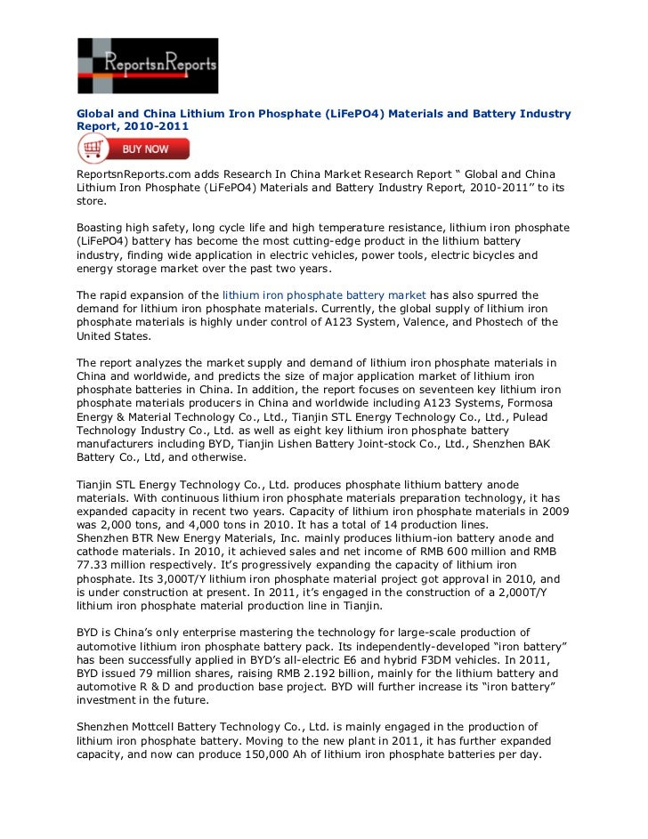 Global and China Lithium Iron Phosphate (LiFePO4) Materials and Battery IndustryReport, 2010-2011ReportsnReports.com adds ...