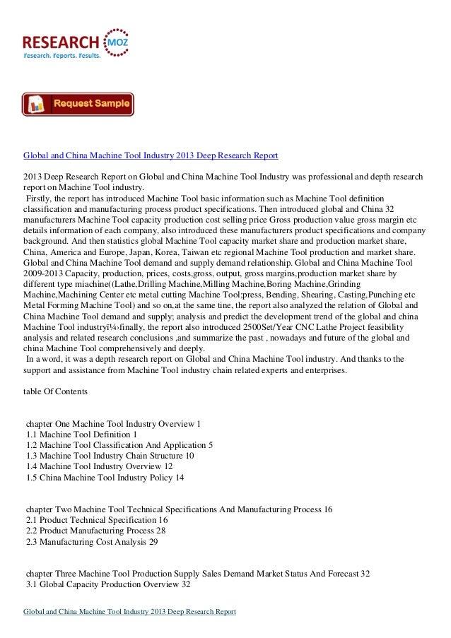 Global and China Machine Tool Industry 2013 Deep Research Report2013 Deep Research Report on Global and China Machine Tool...