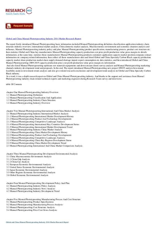 Global Manual Phototypesetting Industry 2014
