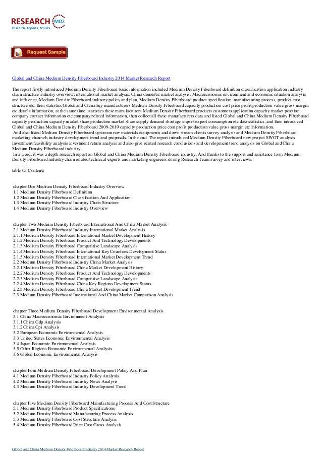 Latest Report: Global and China Medium Density Fiberboard Industry 2014