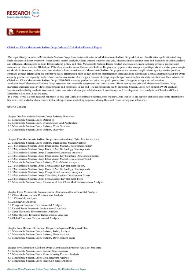 China Metamizole Sodium Drops Industry 2014 Market Research Report