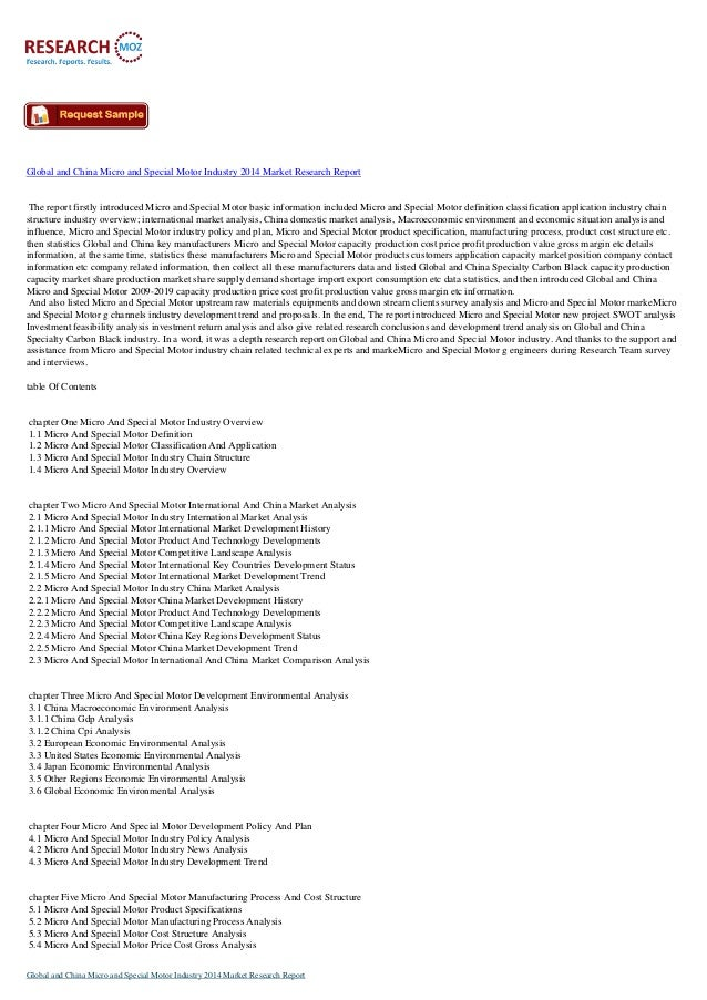 Global and China Micro and Special Motor Industry 2014:Industry Trends, Size and Shares Research Report