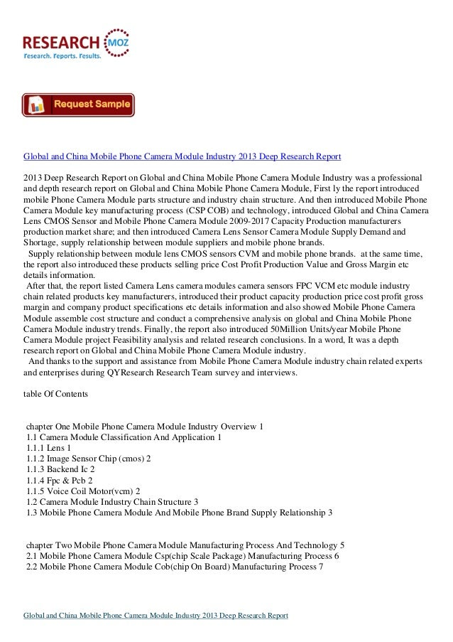 Global and China Mobile Phone Camera Module Industry 2013 Deep Research Report2013 Deep Research Report on Global and Chin...