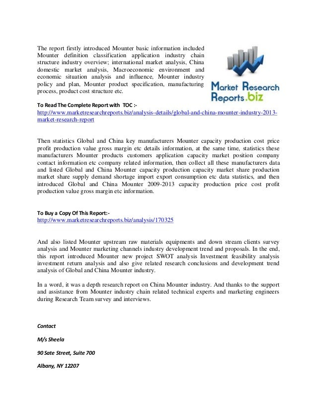 The report firstly introduced Mounter basic information included Mounter definition classification application industry ch...