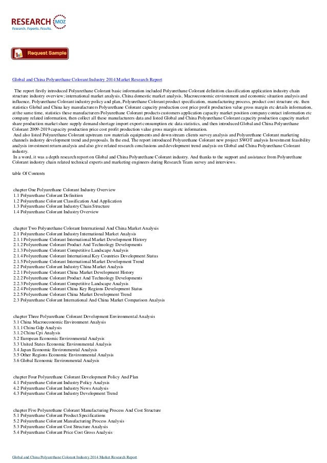 New Release: Global and China Polyurethane Colorant Industry 2014