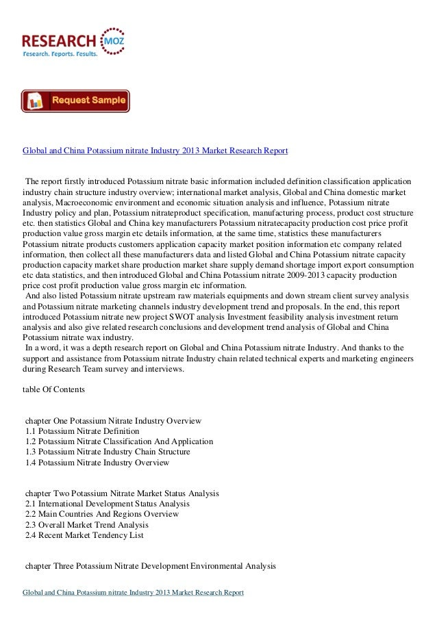 Global and China Potassium Nitrate Industry 2013