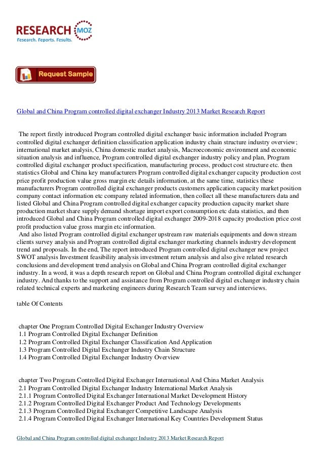 Global and China Program controlled digital exchanger Industry 2013 :Industry Analysis Report