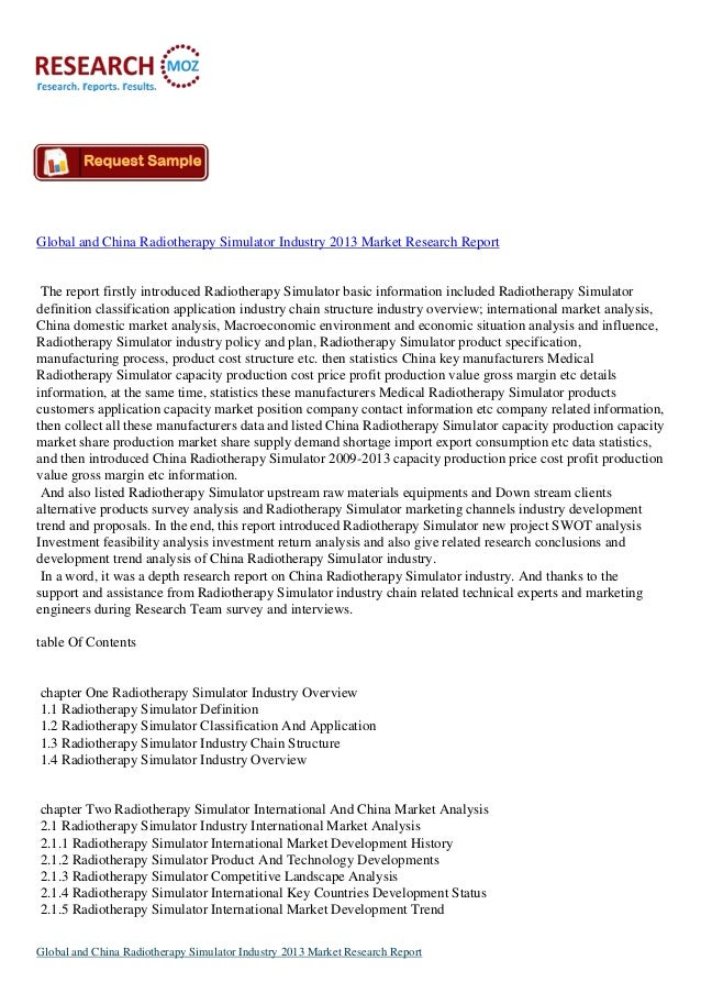 Global and China Radiotherapy Simulator Industry 2013:New Industry Analysis Report