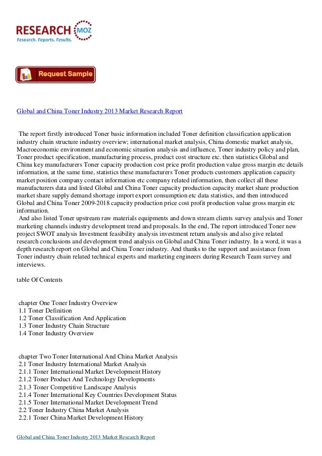 Global and China Toner Industry Report 2013