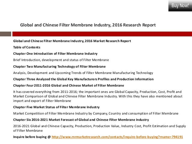 global and china mbr membrane industry To access free sample pages of global membrane bioreactor industry 2018 market research report, click here: china and japan membrane bioreactor market.