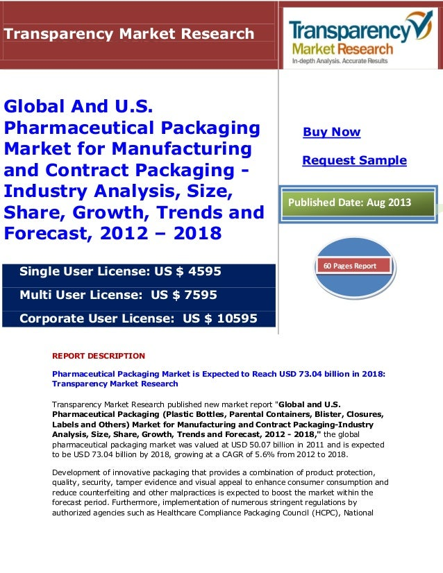 Pharmaceutical Packaging Market - Global And U.S. Industry Analysis, Size, Share, Growth, Trends and Forecast, 2012 - 2018