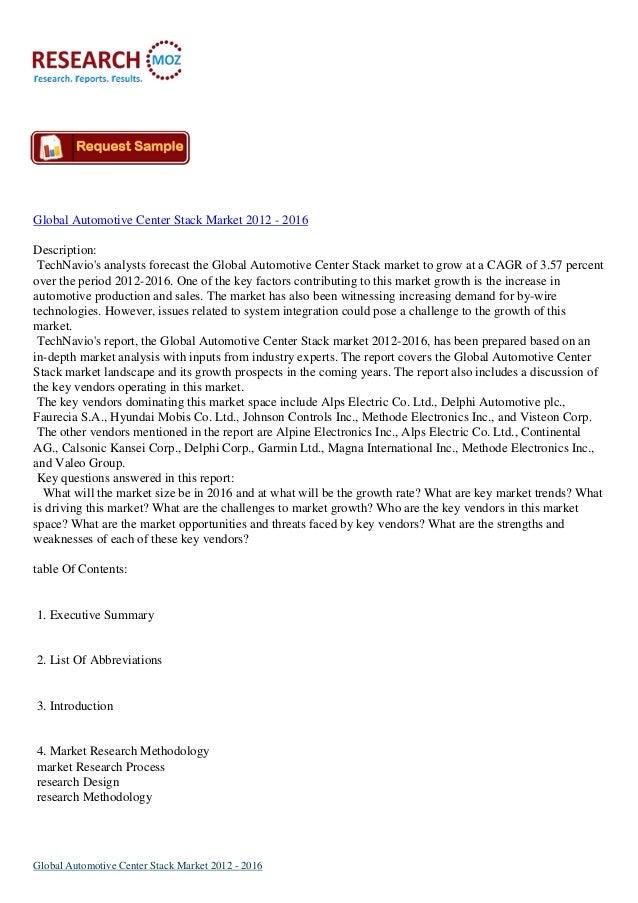 Global Automotive Center Stack Market 2012 - 2016 Description: TechNavio's analysts forecast the Global Automotive Center ...