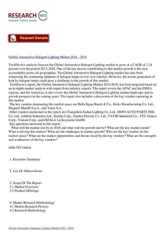 Global Automotive Halogen Lighting Market 2014 - 2018 TechNavio's analysts forecast the Global Automotive Halogen Lighting...