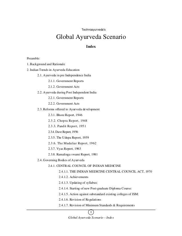 Technoayurvedas                     Global Ayurveda Scenario                                             IndexPreamble:1. ...