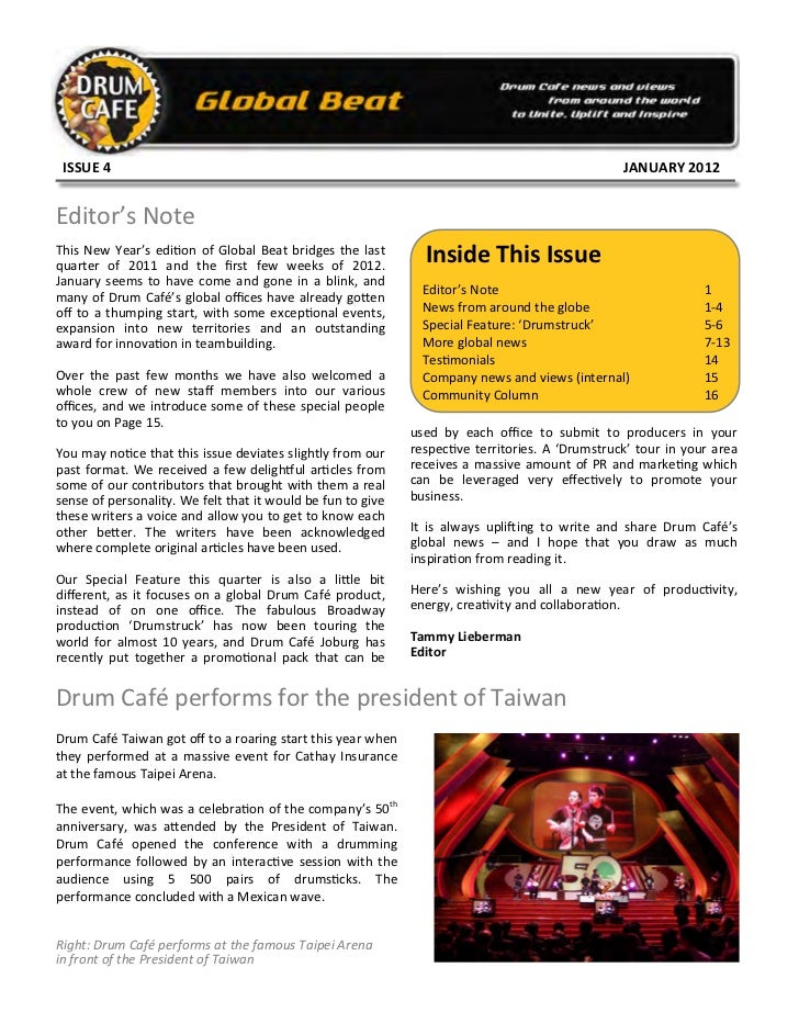 Global beat issue 4 jan 2012