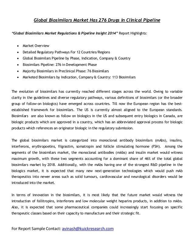 "Global Biosimilars Market Has 276 Drugs in Clinical Pipeline ""Global Biosimilars Market Regulations & Pipeline Insight 201..."