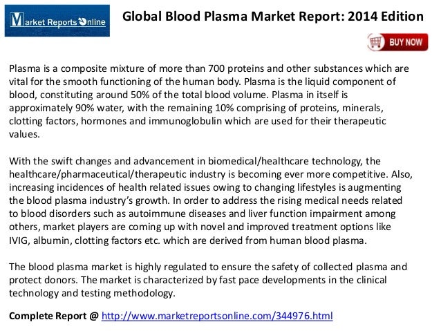 Global Blood Plasma Market Report: 2014 Edition