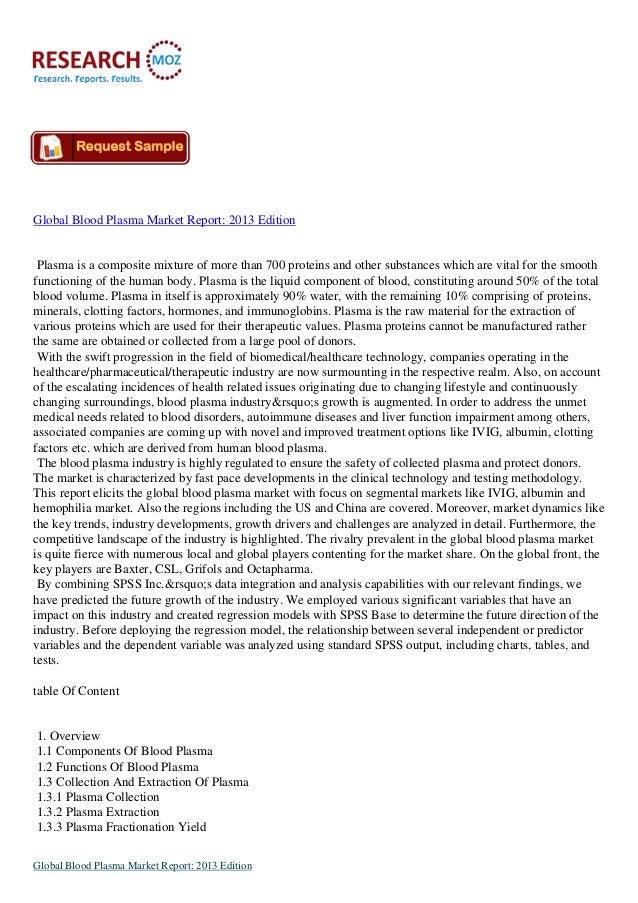Global Blood Plasma Market report  2013 edition